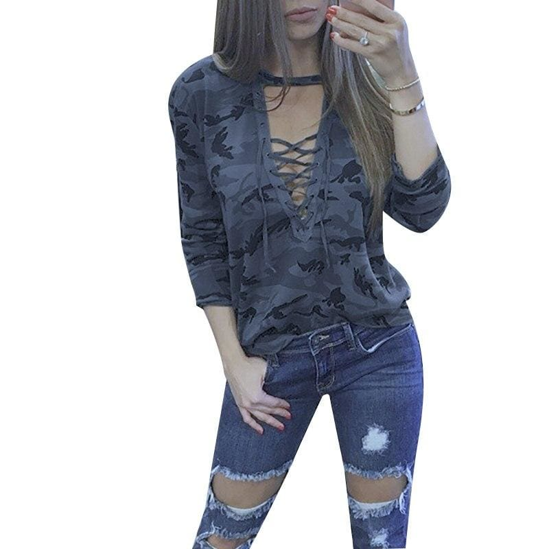 V-Neck Lace-up Female Tee - style 3 / S - T-Shirts