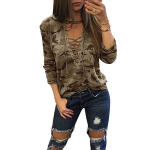 V-Neck Lace-up Female Tee - style 5 / S - T-Shirts