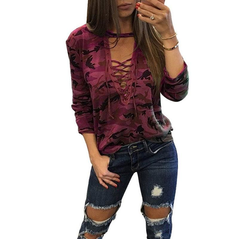 V-Neck Lace-up Female Tee - style 6 / S - T-Shirts
