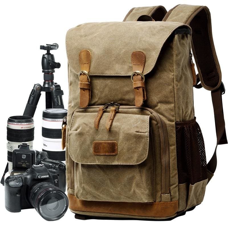 Vintage Photography Waterproof Backpacks For Work - Khaki - Camera/Video Bags