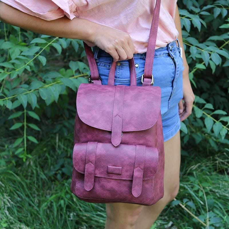 Vintage Women Backpacks - Wine Red - Backpacks