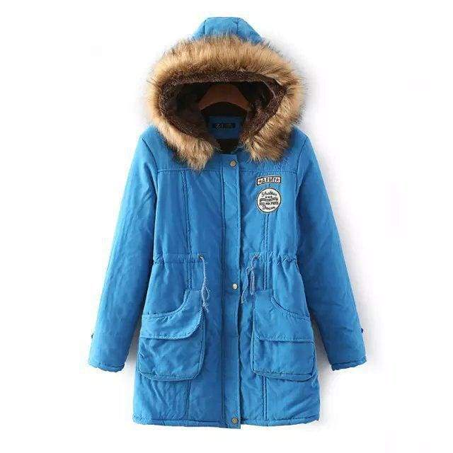 Warm Hooded Parka Women Just For You - Lake blue / XXL / United States - Parkas