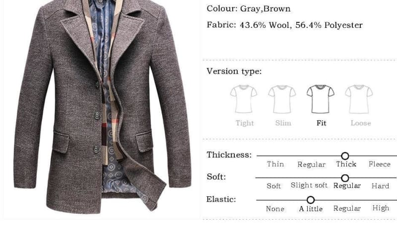 Winter Mens Casual Wool Trench Coat - Wool & Blends