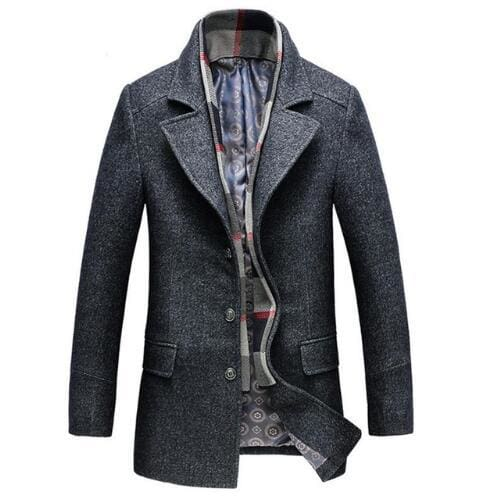 Winter Mens Casual Wool Trench Coat - Dark Grey / XXL - Wool & Blends