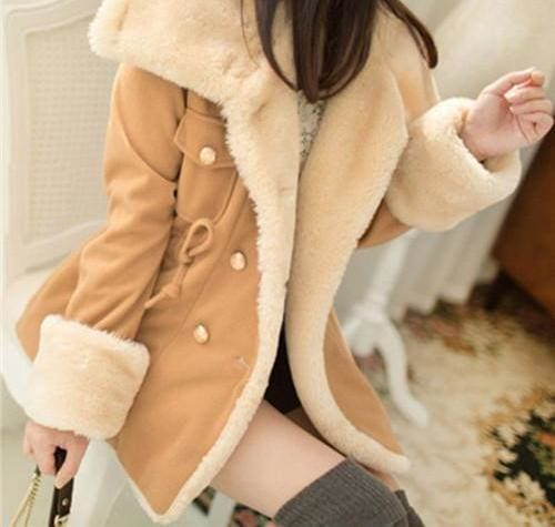 Winter Thick Jackets Solid Slim - Camel / L - Basic Jackets
