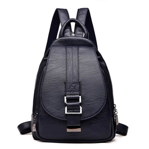 Women Leather Backpacks Just For You - Blue - Backpacks