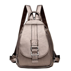 Women Leather Backpacks Just For You - Gold - Backpacks