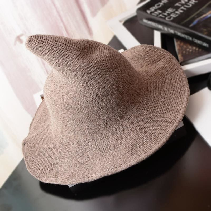 Wool Pointy Witch Hat - Dark Khaki - Party Hats