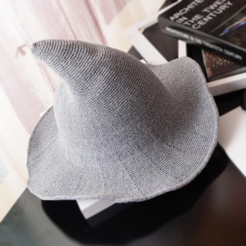 Wool Pointy Witch Hat - Light Grey - Party Hats