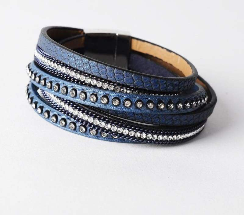 Wrap Leather Bracelet - blue - Wrap Bracelets