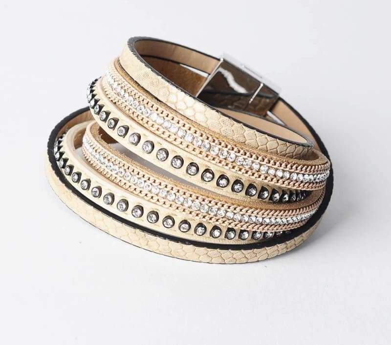 Wrap Leather Bracelet - cream - Wrap Bracelets