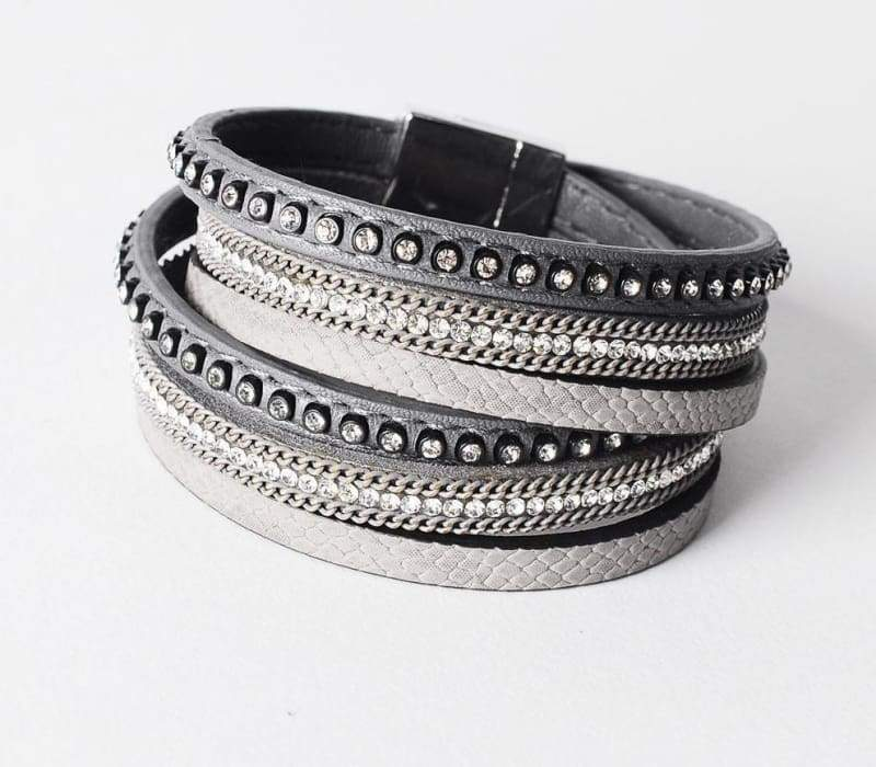 Wrap Leather Bracelet - grey - Wrap Bracelets