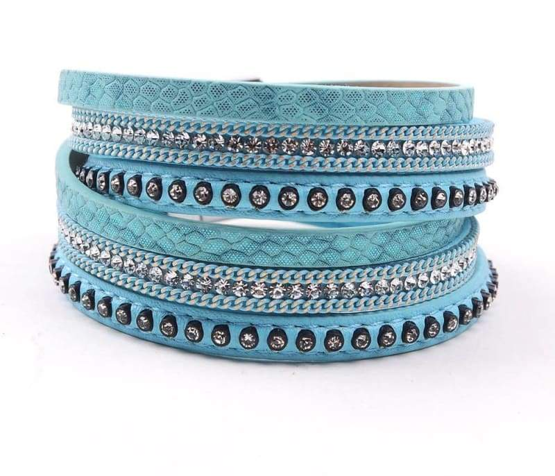 Wrap Leather Bracelet - light blue - Wrap Bracelets