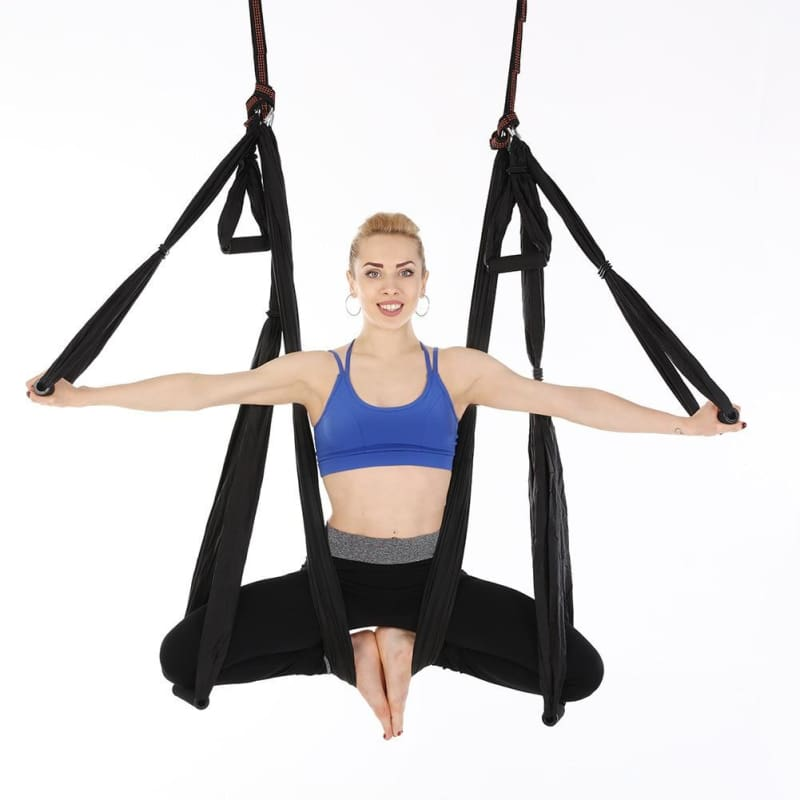 Yoga Hammock Anti-gravity Swing Parachute - Black - Gym Fitness