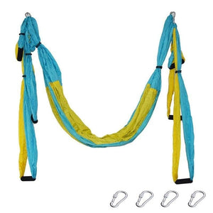 Yoga Hammock Anti-gravity Swing Parachute - blue yellow - Gym Fitness