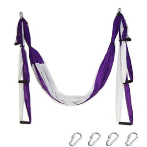 Yoga Hammock Anti-gravity Swing Parachute - purple white - Gym Fitness