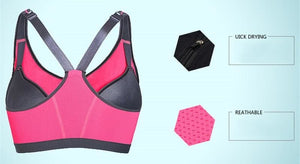 Zipper Sports Bra Women Fitness Yoga Bra - Sports Bras