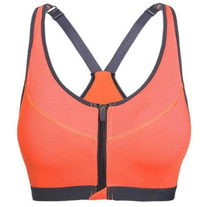 Zipper Sports Bra Women Fitness Yoga Bra - Orange / S - Sports Bras