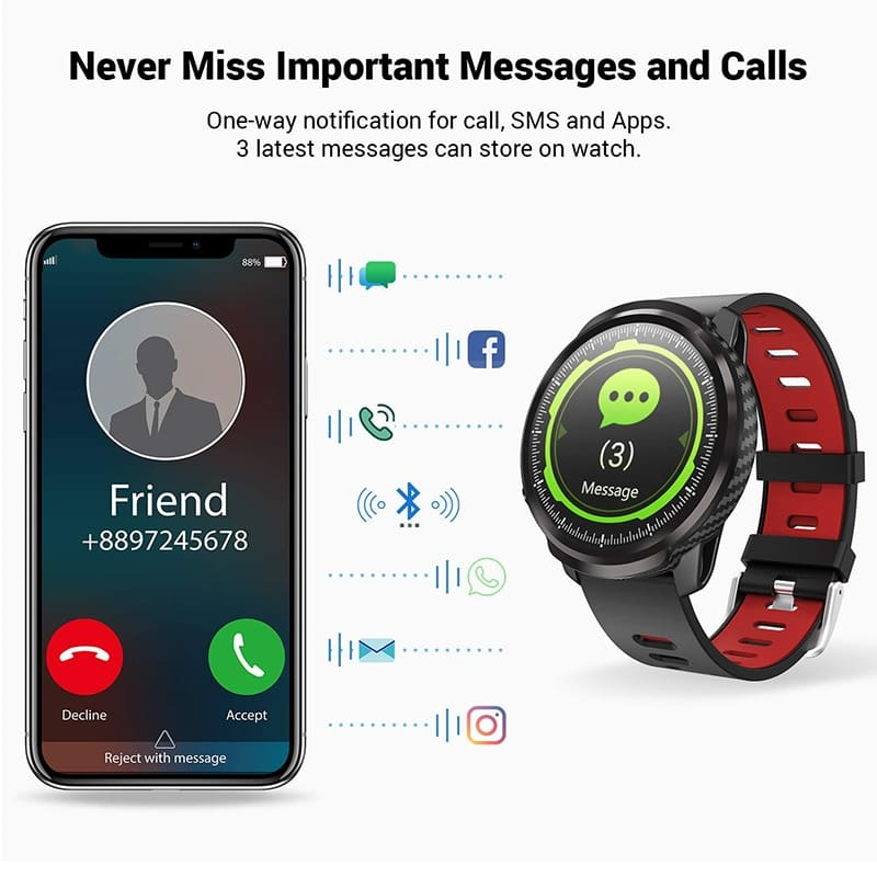 L3 Smart Watch Waterproof Women Men Smartwatch Round Screen Heart Rate Pedometer Call Message Reminder Smart Activity Tracker