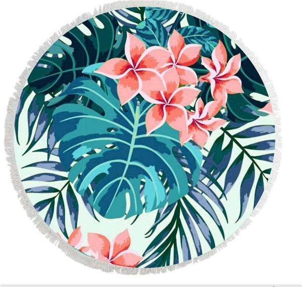 Serviette ronde microfibre - Tropical bleue