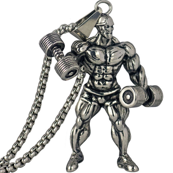 Dumbbell Pendant Necklace Men Stainless Steel Chain Silver Fitness Strong Man