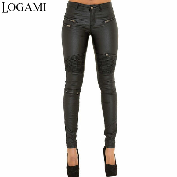 LOGAMI Faux Leather Pants Women Elastic Zipper