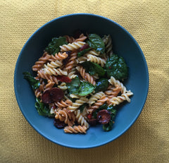 Pasta with chilli oil, spinach and chorizo recipe