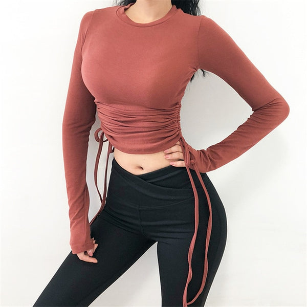 Drawstring Sport Top For Women Gym Skinny Quick Dry Athletic Fitness Clothing Long Sleeve Sports T-Shirts Army Green Yoga Shirts