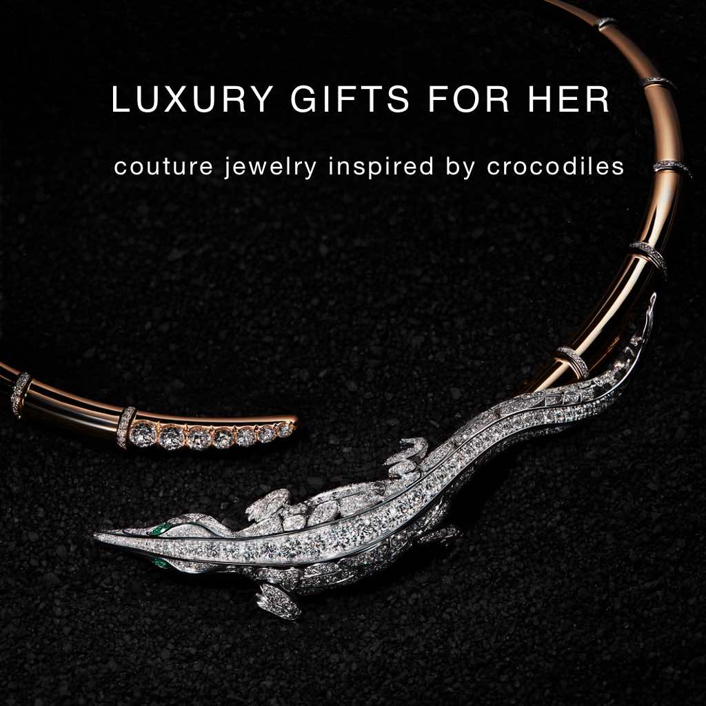 ORLOV CROCO DREAM Collection Crocodile Choker set in 18K white gold with numerous flawless Diamonds