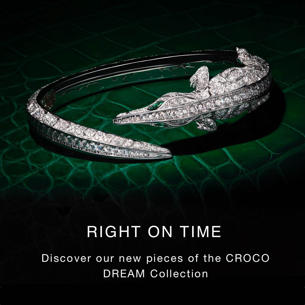 CROCO DREAM crocodile bracelet set in 18K white gold with numerous white Diamonds