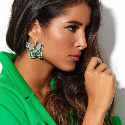 CLASSIC EMERALD DIAMOND BUTTERFLY EARRINGS