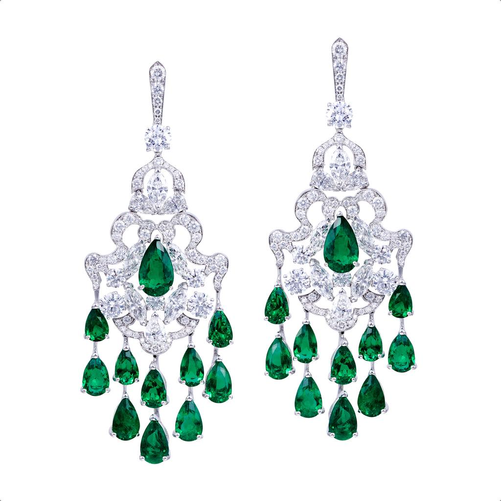 CLASSIC EMERALD AND DIAMOND EARRINGS