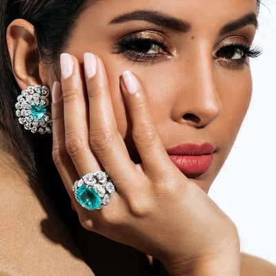 CLASSIC FLOWER PARAIBA DIAMOND EARRINGS AND RING