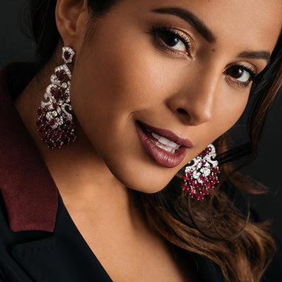 CLASSIC SIGNATURE RUBY AND DIAMOND EARRINGS