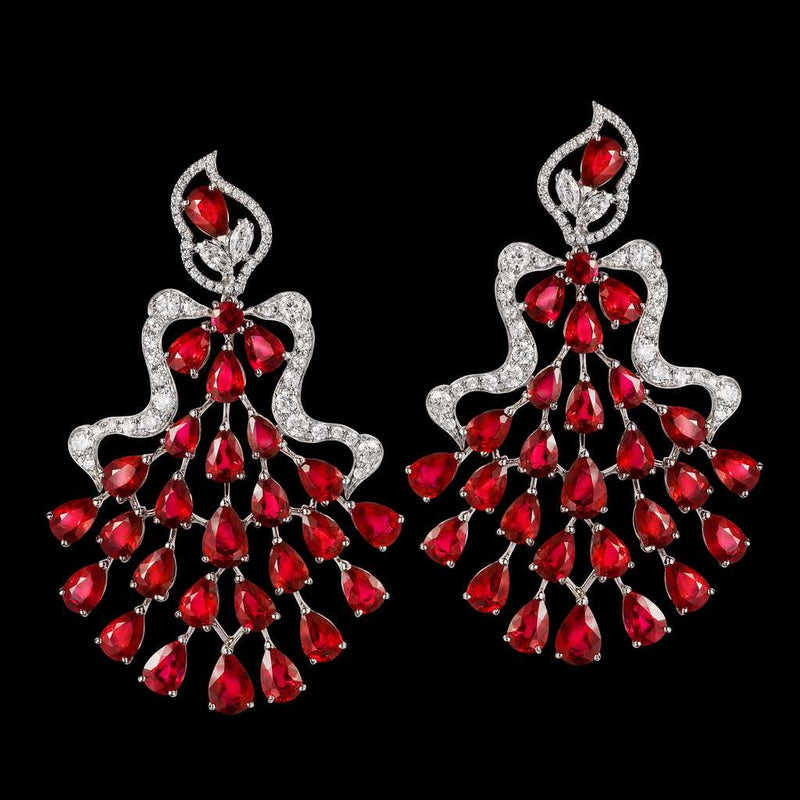 CLASSIC RUBY DIAMOND FAN EARRINGS