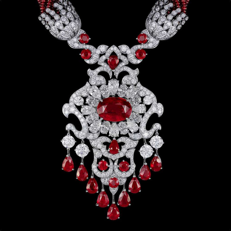 CLASSIC BURMESE RUBY DIAMOND NECKLACE