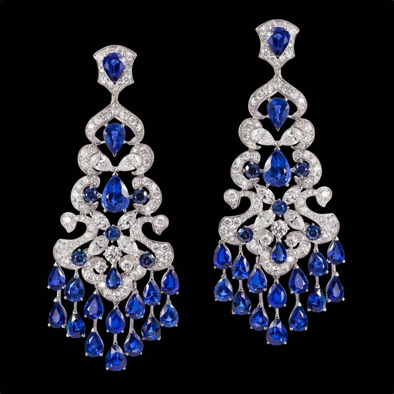 CLASSIC SIGNATURE BLUE SAPPHIRE AND DIAMOND EARRINGS