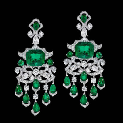 CLASSIC CUSHION PAIR EMERALD EARRINGS