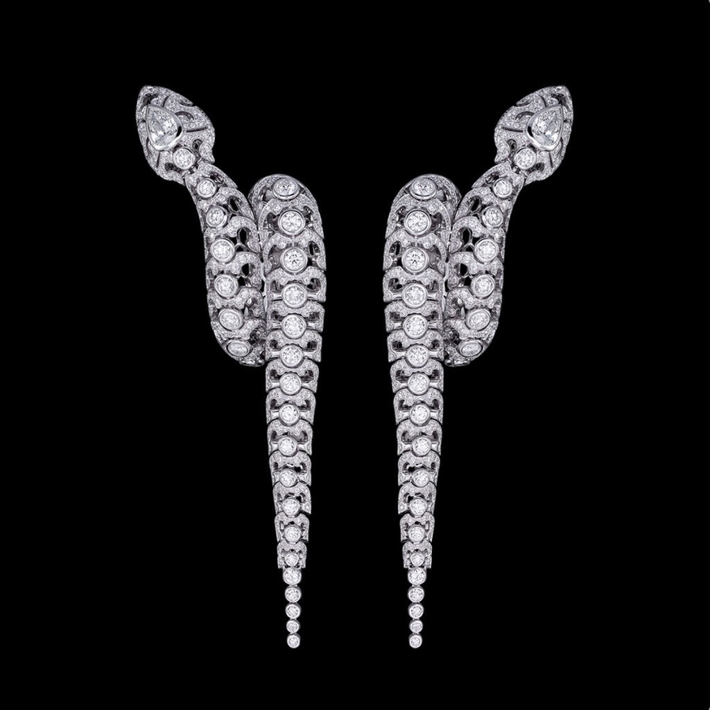 SERPENTES EARRINGS WHITE GOLD