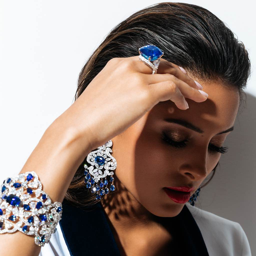 ORLOV CLASSIC earrings set with royal blue sapphires and diamonds