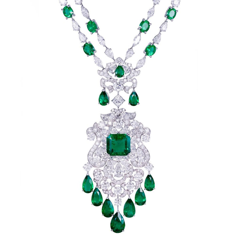 CLASSIC EMERALD DIAMOND NECKLACE