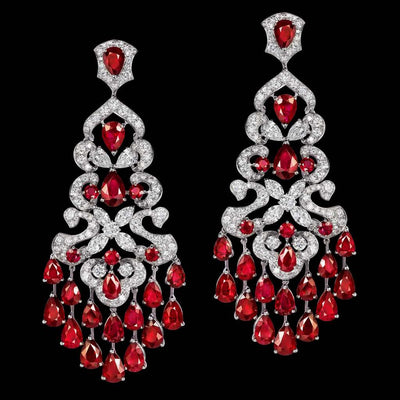 ORLOV CLASSIC earrings set with Burmese rubies and diamonds