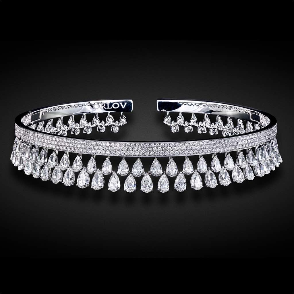 SIMPLICITY TWO ROW DIAMOND CHOKER WHITE GOLD