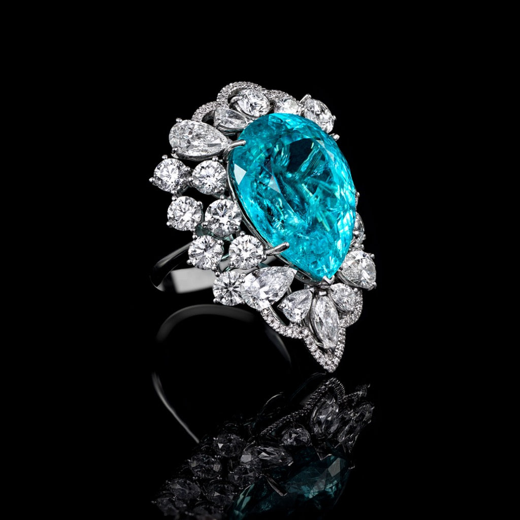 ORLOV Paraiba ring set with diamonds
