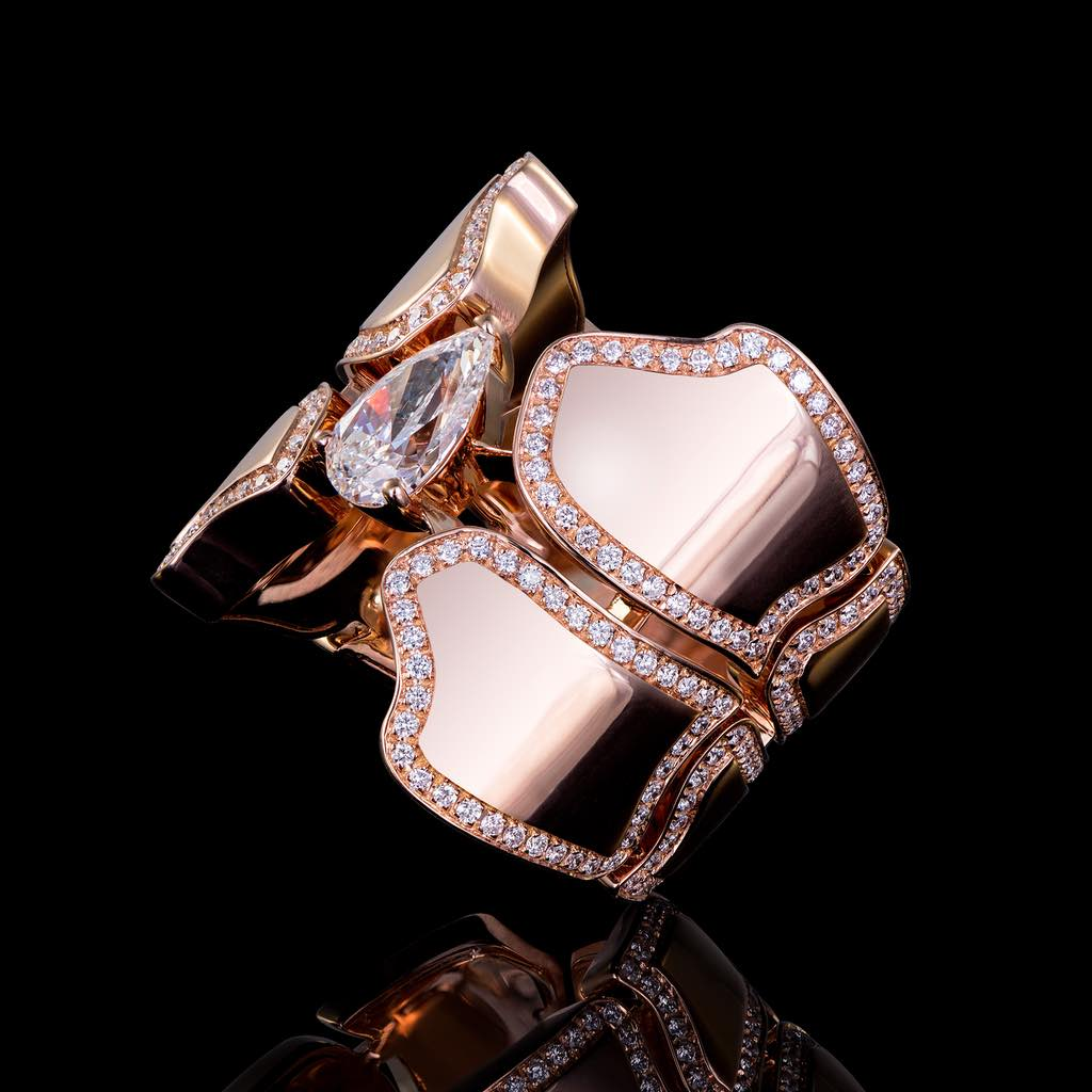 CROCO DREAM SKIN DIAMOND RING PINK GOLD