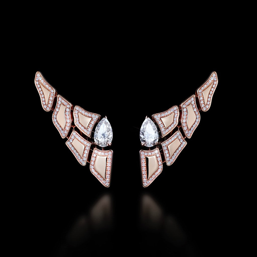 CROCO DREAM Skin Diamond Earrings in Rose Gold