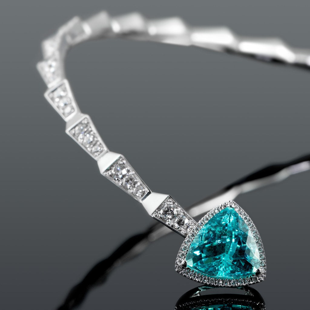 CROCO DREAM SPIKE DIAMOND PARAIBA CHOKER WHITE GOLD