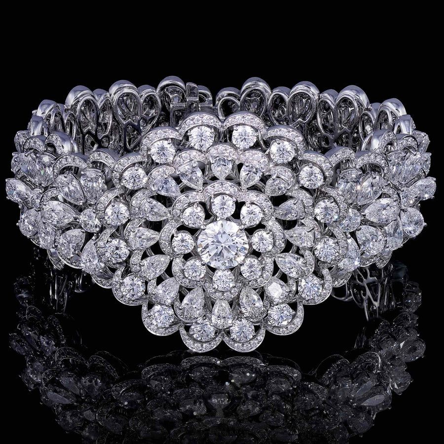 ORLOV CLASSIC flower bracelet set white diamonds