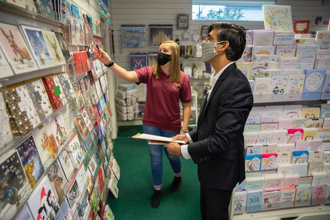 Chancellor Rishi Sunak looking at Christmas cards in Nickery Nook
