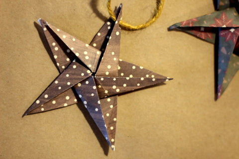 Origami star made from wrapping paper